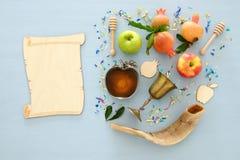 Hashanah de Rosh y x28; holiday& judío x29 del Año Nuevo; concepto Símbolos tradicionales Fotos de archivo libres de regalías