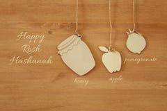 Hashanah de Rosh y x28; holiday& judío x29 del Año Nuevo; concepto Símbolos tradicionales imagenes de archivo