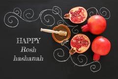Hashanah de Rosh y x28; holiday& judío x29 del Año Nuevo; concepto Símbolos tradicionales Imagen de archivo libre de regalías