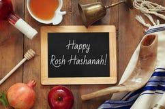 Hashanah de Rosh y x28; nuevo Year& judío x29; concepto Símbolos tradicionales Fotos de archivo