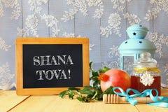 Hashanah de Rosh y x28; nuevo Year& judío x29; concepto Símbolos tradicionales Foto de archivo