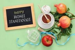 Hashanah de Rosh y x28; nuevo Year& judío x29; concepto Símbolos tradicionales Imagenes de archivo