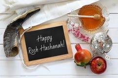 Hashanah de Rosh y x28; nuevo Year& judío x29; concepto Símbolos tradicionales Imagen de archivo