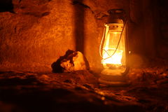 Hashashit. Lighted oil lamp in the night Royalty Free Stock Photos