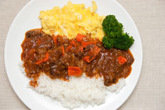 Hashed Beef Rice. Japanese style hashed beef rise Royalty Free Stock Photography