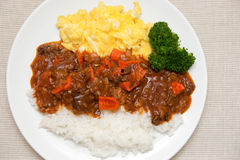 Hashed Beef Rice. Japanese style hashed beef rise Stock Photos
