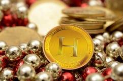 Hashgraph una nuova vista del primo piano della moneta di Cryptocurrency Fotografie Stock Libere da Diritti