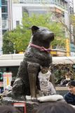 Hashiko statue with two cats in Shibuya stock photos