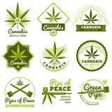 Hashish, rastaman, hemp, cannabis vector logos and labels set Stock Photography