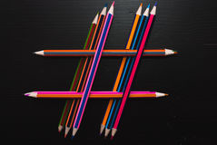 Hashtag των μολυβιών Στοκ φωτογραφία με δικαίωμα ελεύθερης χρήσης