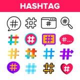 Hashtag, набор значков цвета вектора знака числа иллюстрация вектора