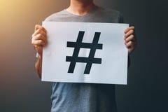 Hashtag als viraal Web sociaal media netwerkconcept stock afbeeldingen