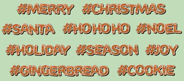 Hashtag Christmas - Gingerbread Cookie Stock Photography