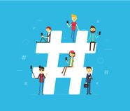 Hashtag concept illustration of young people using mobile tablet and smartphone vector illustration