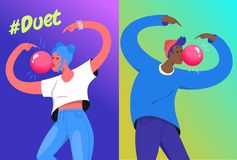 Hashtag duet challenge concept vector illustration of two young teenagers blowing a big bubble gum royalty free stock image