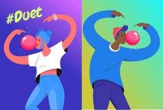 Hashtag duetu wyzwania pojęcia wektorowa ilustracja dwa młodego nastolatka dmucha dużego bąbla dziąsło ilustracji