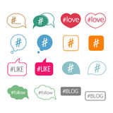 Hashtag flat vector icons set Stock Photography