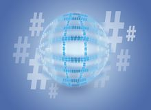 Hashtag globe Stock Image