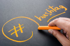 Hashtag. Hand drawing Hashtag symbol with chalk Royalty Free Stock Photo