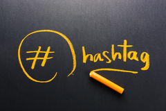 Hashtag. Handwriting of Hashtag symbol on chalkboard Royalty Free Stock Photo