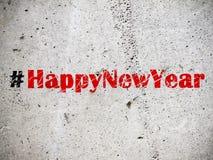 Hashtag Happy New Year on grunge background illustration Stock Photo