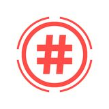 Hashtag icon in red double circle Stock Photography