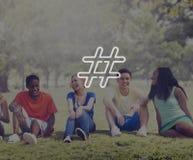 Hashtag-Ikonen-Social Media-Blog-Beitrags-Konzept Lizenzfreie Stockfotos