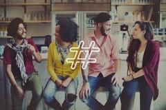 Hashtag-Ikonen-Social Media-Blog-Beitrags-Konzept Lizenzfreie Stockfotografie