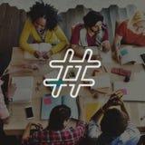 Hashtag-Ikonen-Social Media-Blog-Beitrags-Konzept Stockbilder