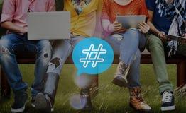 Hashtag ikony blogu poczta Ogólnospołeczny Medialny pojęcie Zdjęcia Royalty Free