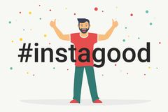 Free Hashtag Instagood Concept Flat Vector Illustration Of Happy Guy Smiling And Making Thumbs Up With Both Hands Royalty Free Stock Photo - 138545875
