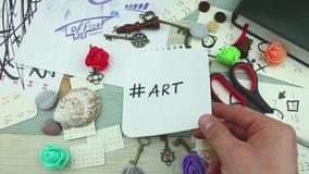 Hashtag-Kunst auf Papier stock video