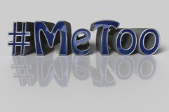 Hashtag Me too in blue letters on white background. 3D Illustration.  Hashtag Me too in blue letters on white background as trending social-media movement Stock Images