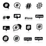 Hashtag, medios iconos sociales fijados Foto de archivo libre de regalías