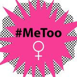 Hashtag MeToo vektorillustration i humorbokstil Royaltyfri Illustrationer