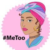 Hashtag MeToo wektorowa ilustracja z smutną kobietą Fotografia Stock