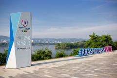 Hashtag na cidade de Krasnoyarsk imagem de stock