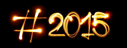 Hashtag 2015. Hashtag New Year 2015 by light Royalty Free Stock Images