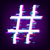 Hashtag or number sign with glitch effect. Isolated on dark background. Vector illustration Stock Images