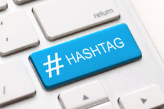 Hashtag post viral web network media tag business. Hashtag blogging blog content media social laptop keyboard key keypad business category concept - stock image Royalty Free Stock Photo