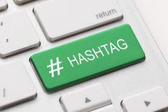 Hashtag post viral web network media tag business. Hashtag blogging blog content media social laptop keyboard key keypad business category concept - stock image Royalty Free Stock Image