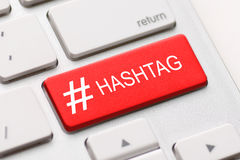 Hashtag post viral web network media tag business. Hashtag blogging blog content media social laptop keyboard key keypad business category concept - stock image Stock Image