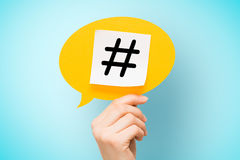 Hashtag post viral web network media tag business.