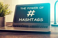 Hashtag post viral web network media tag business. Hashtag post viral web network media tag business topics topic success laptop notebook content sharing Stock Images