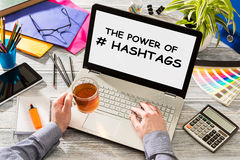 Hashtag post viral web network media tag business. Hashtag post viral web network media tag business topics topic success laptop notebook content sharing Royalty Free Stock Images