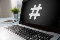 Hashtag post viral web network media tag business. Hashtag post viral web network media tag business topics topic success laptop notebook content sharing Stock Image