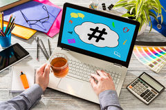 Hashtag post viral web network media tag business. Hashtag post viral web network media tag business topics topic success laptop notebook content sharing Royalty Free Stock Photography
