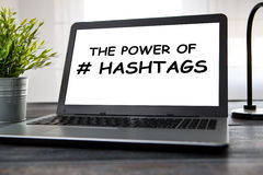 Hashtag post viral web network media tag business. Hashtag post viral web network media tag business topics topic success laptop notebook content sharing Royalty Free Stock Photos