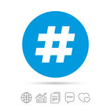 Hashtag sign icon. Social media symbol. Copy files, chat speech bubble and chart web icons. Vector Royalty Free Stock Photography