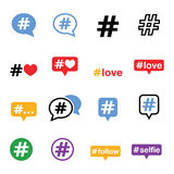Hashtag, social media icons set Stock Photography